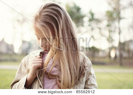 Sad And Lonely Little Girl