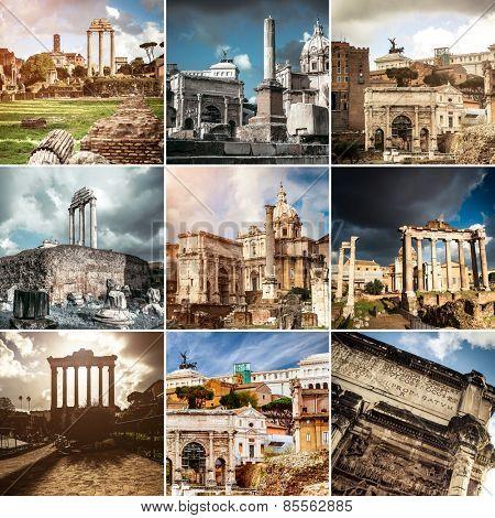 photo collage of beautiful views Roman Forum
