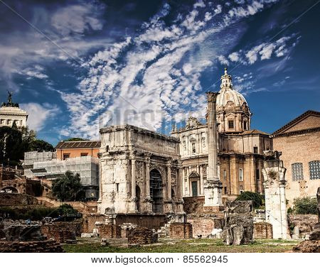 Roman Forum in Rome agains blue sky, Italy