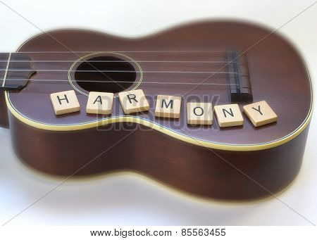 Antique Ukulele & Harmony wooden letter tiles