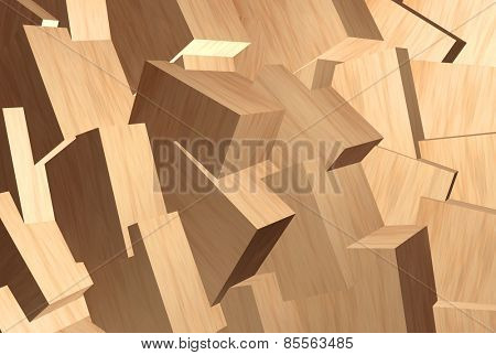 Pine wood blocks abstract background