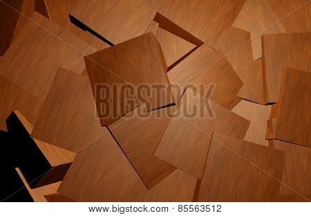 Mahogany wood blocks abstract background