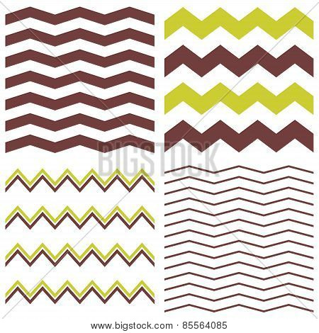 Tile chevron vector pattern set with brown, green and white zig zag background