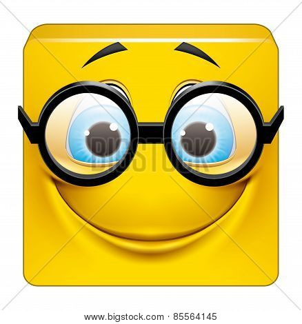 Square Emoticon With Big Glasses