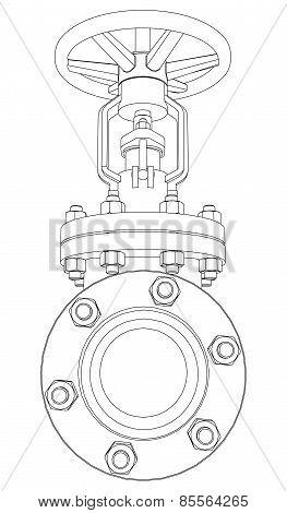 Industrial valve. Vector rendering of 3d