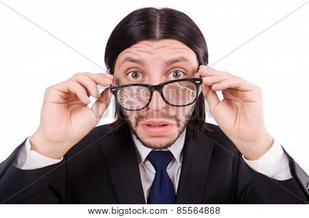 Businessman with broken eye glasses isolated on white