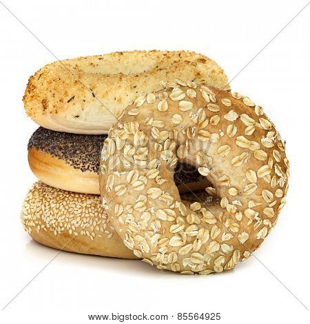 Bagels isolated on white.  Different varieties.