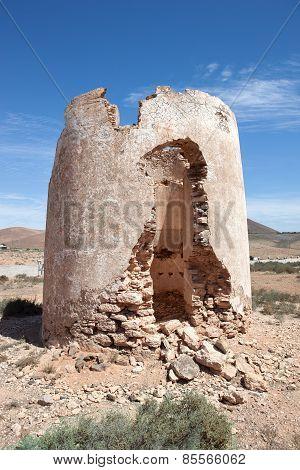 Ruin of a windmill in Fuerteventura