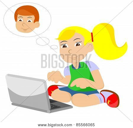 Girl With Comp And Boy