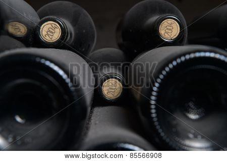 Old dusty wine bottles