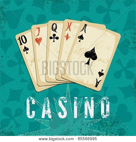 Vintage grunge style casino poster with playing cards. Retro vector illustration.