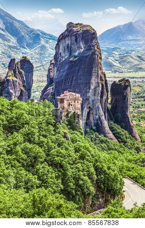 Rousanou Monastery at Meteora in Trikala region in summer, Greece.
