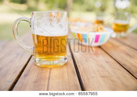 Beer and snacks on picnic table on a sunny day