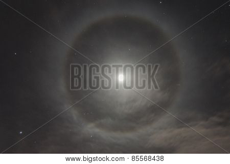 Natural Phenomenon In The Night Sky. Moon Halo