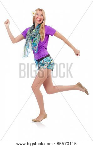 Running happy girl isolated on white