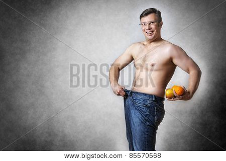 Man With Fruits Has Lost Body Weight
