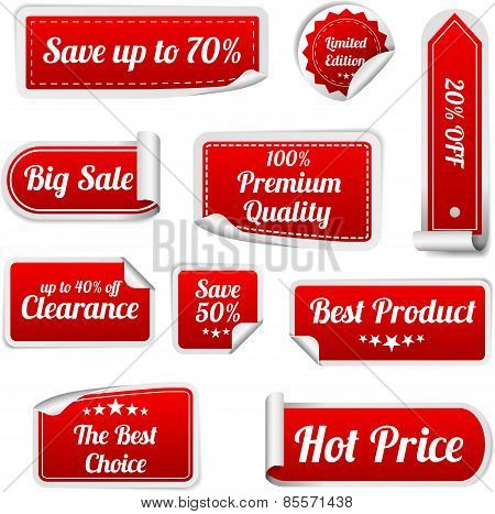 Set Of Red Paper Sale Stickers