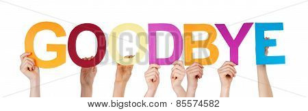 Many People Hands Holding Colorful Straight Word Goodbye
