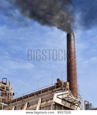 Powerplant With Thick Black Smoke