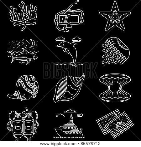 Sea life white line icons vector collection