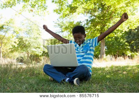 Cute little boy with laptop on a sunny day
