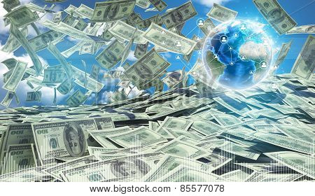 American money falling. Against background of globe earth and blue sky with clouds