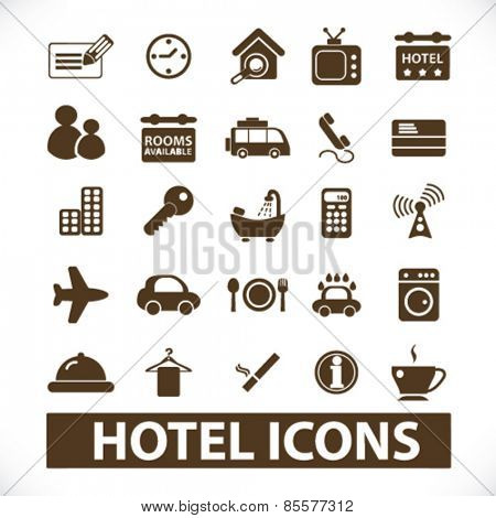 hotel, motel isolated icons, signs, illustrations collection concept design set for web and application on background, vector