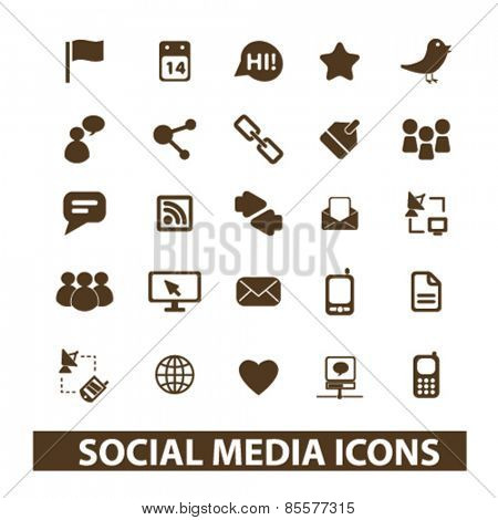 social media, community isolated icons, signs, illustrations collection concept design set for web and application on background, vector