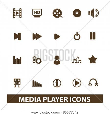 media player, music, audio isolated icons, signs, illustrations collection concept design set for web and application on background, vector