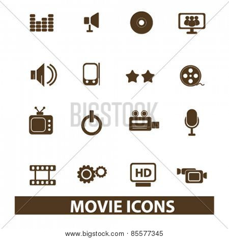 movie, cinema isolated icons, signs, illustrations collection concept design set for web and application on background, vector