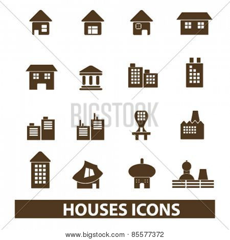 houses, buildings isolated icons, signs, illustrations collection concept design set for web and application on background, vector