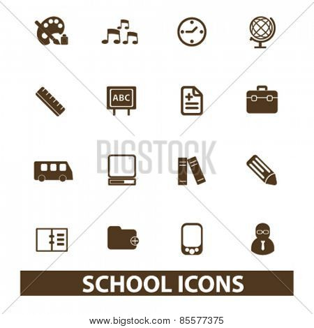 school, education, lesson isolated icons, signs, illustrations collection concept design set for web and application on background, vector