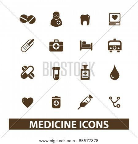 medicine, hospital, healthcare isolated icons, signs, illustrations collection concept design set for web and application on background, vector