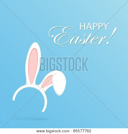 Rabbit Ears On Blue Background