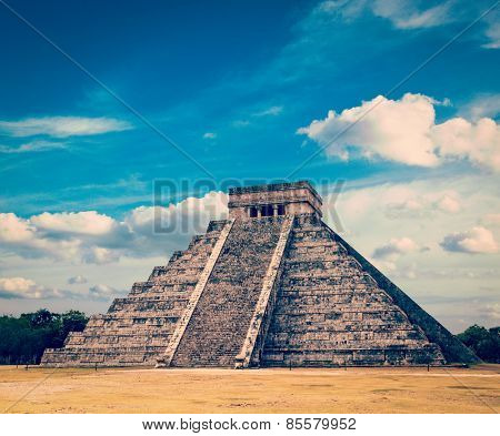 Vintage retro effect filtered hipster style image of famous mexican landmark - anicent mayan pyramid in Chichen-Itza, Mexico