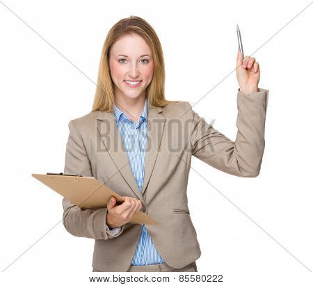 Young businesswoman with clipboard get an idea