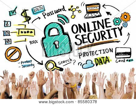 Online Security Protection Internet Safety People Volunteer Concept
