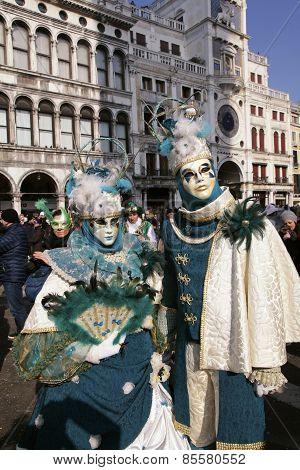 Masked Persons In Costume On Carnival In Venice