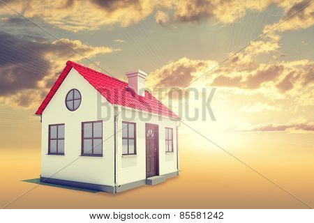 White house with red roof, brown door and chimney. Background sunset