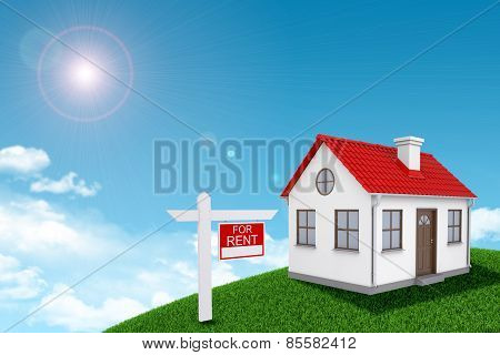 White house for rent with red roof and chimney on green grassy hill. Background sun shines brightly