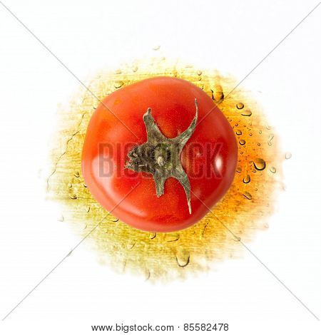 Red Tomato on Yellow with Water drops isolated over white