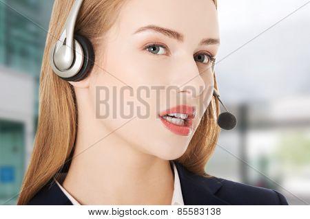 Call center beautiful caucasian girl