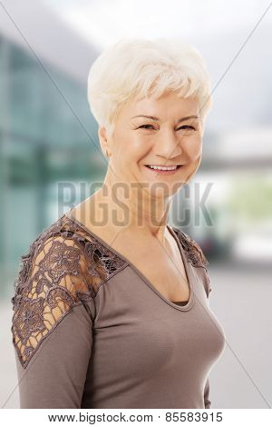 Portrait of and old, casual woman