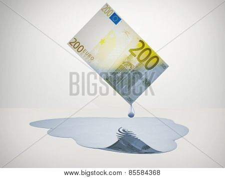 200 Euro bill drips freshwater