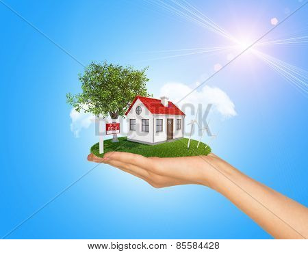 Hand holding house on green grass with red roof, chimney, tree, wind turbine. Near there is signboar
