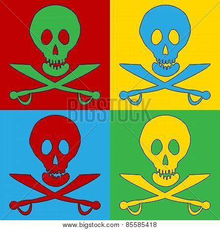 Pop Art Jolly Roger Symbol Icons.