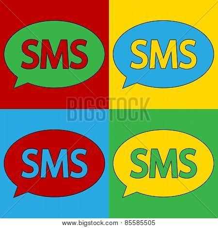 Pop Art Sms Symbol Icons.