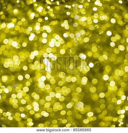 Defocused Golden Abstract Christmas Background With Bokeh Effect