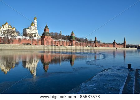 The Moscow Kremlin And Moscow River.
