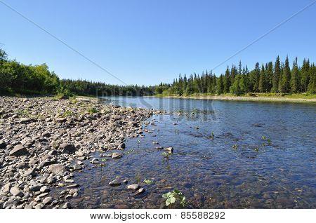Pebble River In The Urals.